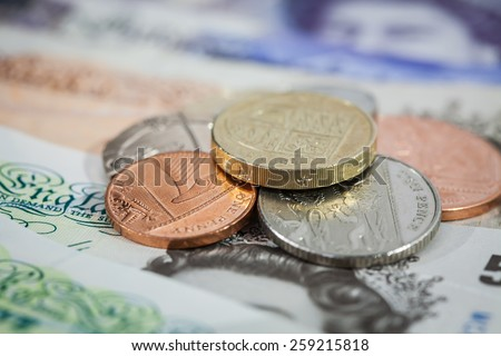 Pile of New Clean UK Money - stock photo