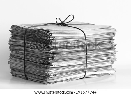 Pile of newspapers. Shallow depth of field.  - stock photo
