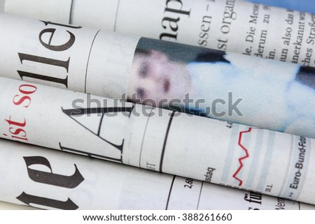Pile of  newspapers, stack of newspaper - stock photo