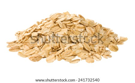 pile of oat flakes - stock photo