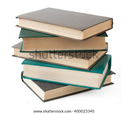 Pile of old antique books isolated on white background - stock photo