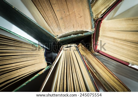 Pile of old books - stock photo