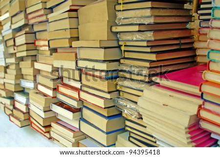 pile of old books for sale to the market - stock photo