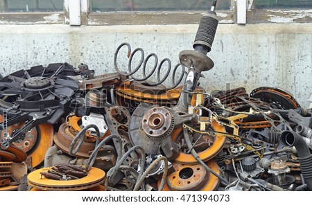 Pile Old Car Parts Scrap Metal Stock Photo 471394073 Shutterstock