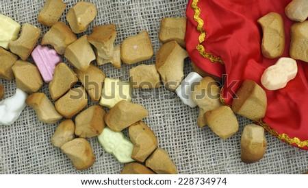Pile of Old Dutch Pepernoten, typical Dutch treat for Sinterklaas on 5 december - stock photo