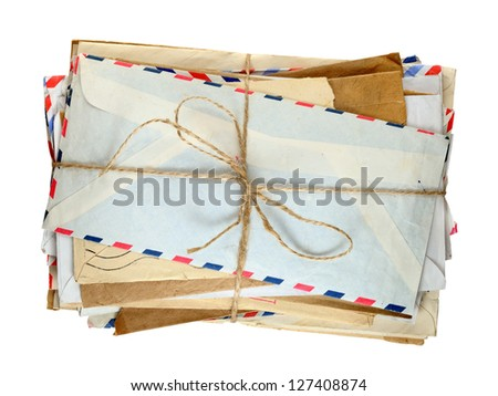 Pile of old envelopes isolated on white background - stock photo