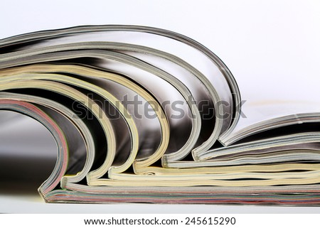 Pile of old magazines close-up - stock photo