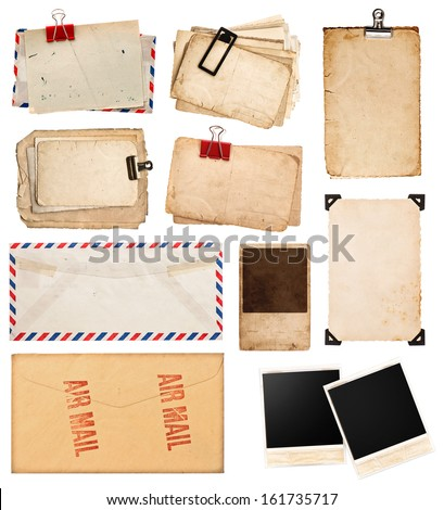 pile of old postcards isolated on white background. vintage paper sheets with clip. old photo frames. air mail envelope. retro design