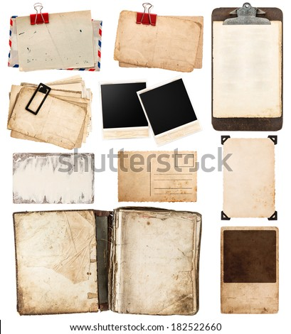 pile of old postcards isolated on white background. vintage paper sheets with clip. old photo frames. antique clipboard. retro design