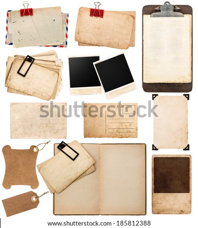 pile of old postcards isolated on white background. vintage paper sheets with clip. old photo frames. antique clipboard. retro design. ephemera - stock photo