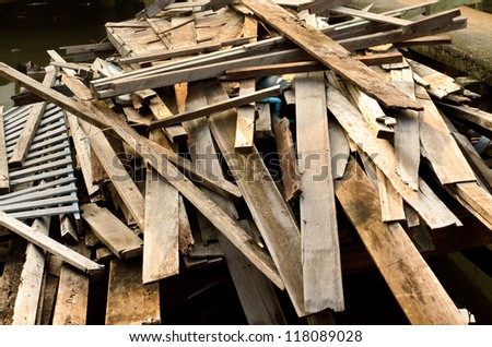 Pile of Old Wood from House Building - stock photo