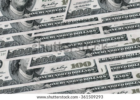 Pile of one hundred dollars design as background
