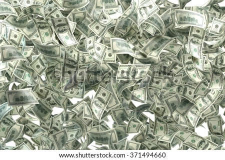 Pile of one hundred US dollar bills. Great use for money and finance related concepts. Isolated on white background. Clipping path is included.  - stock photo