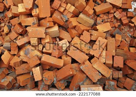 Pile of orange rubble  - stock photo