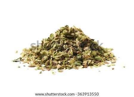Pile of oregano seasoning isolated - stock photo