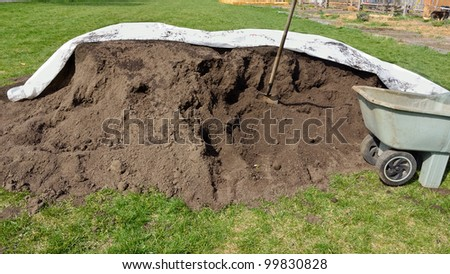 pile of organic compost - stock photo
