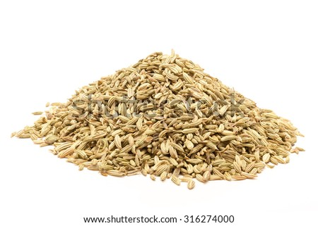 Pile of Organic Fennel seed (Foeniculum Vulgare) isolated on white background