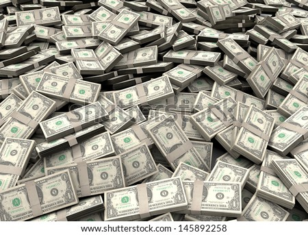 Pile of packs of dollar bills - stock photo