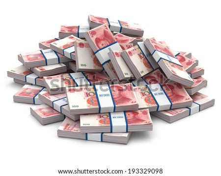 Pile of packs of yuan. Lots of cash money.3d - stock photo