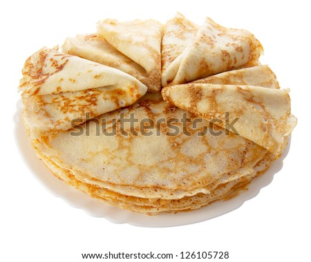 pile of pancakes on the white plate (isolated object)