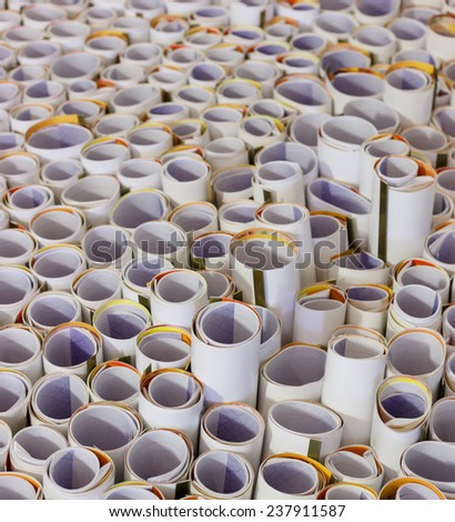 pile of paper roll, abstract background.