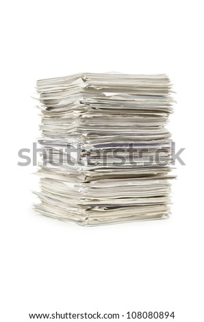 Pile of papers on white - stock photo
