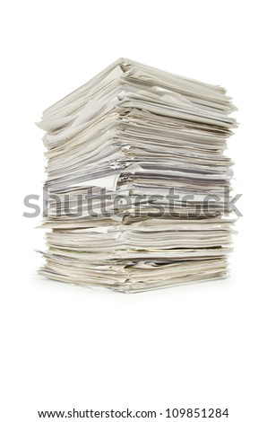 Pile of papers on white