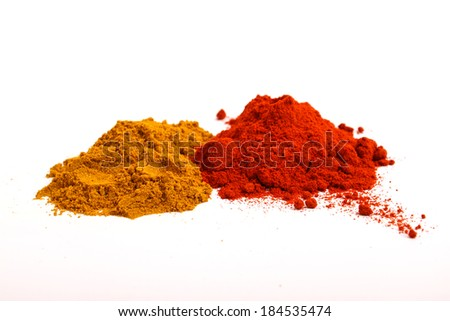 Pile of paprika and pepper powder