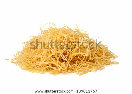 pile of pasta on a white background