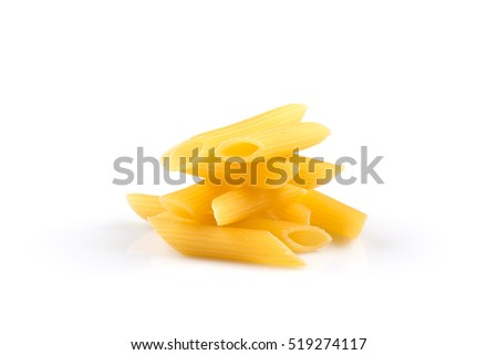 pile of penne pasta in balance on white background