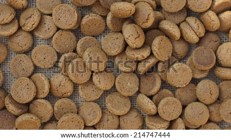 Pile of Pepernoten, typical Dutch treat for Sinterklaas - stock photo