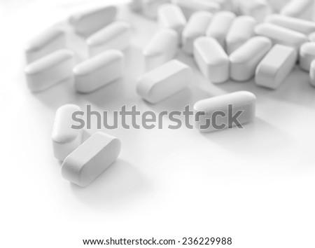 Pile of pills, close-up - stock photo