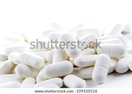 Pile of pills, copy space top