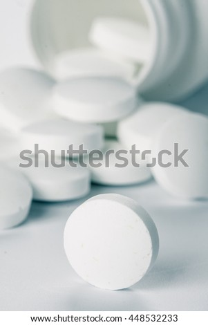 Pile of pills. Medical background