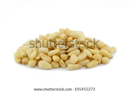 Pile of pine nuts in isolated white background