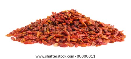 pile of Piri Piri peppers isolated on white background (shallow depth of field on top of pile)