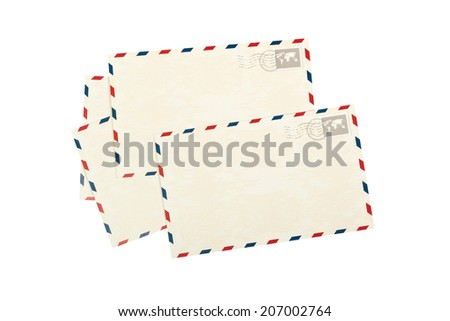 Pile of plain postcards isolated on white background