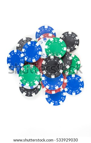 Pile of poker chips isolated on white background