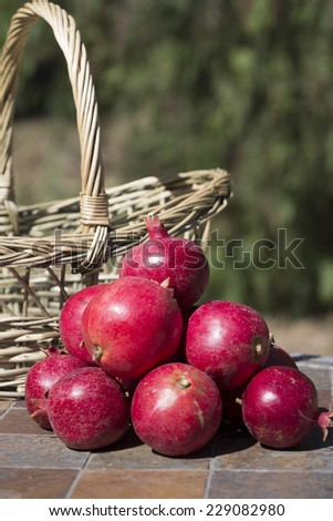 Pile of pomegranates with natural basket against blurred outdoor background - stock photo