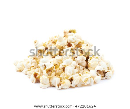 Pile of popcorn flakes isolated over the white background