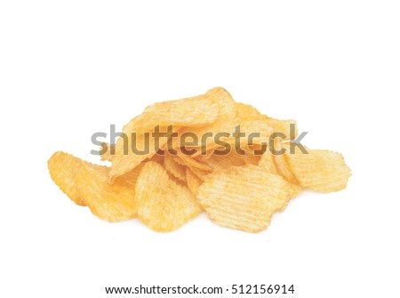 pile of potato chips isolated