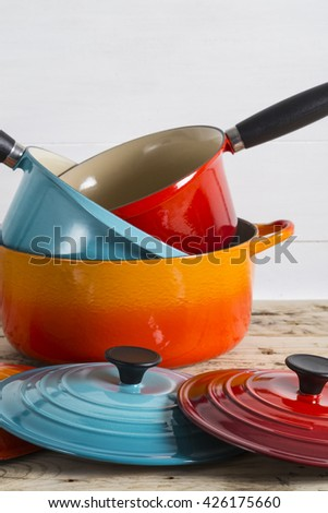Pile of pots and pans - stock photo