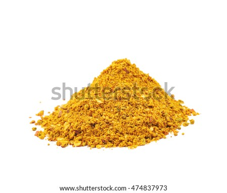 Pile of powdered yellow curry spice isolated over the white background