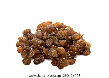 Pile Of Raisins On Simple White Background - stock photo