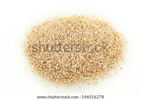 Pile Of Raw Steel Cut Oatmeal Isolated On White Background - stock photo