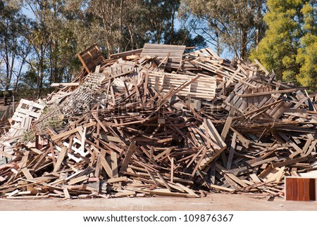 Pile of raw timber for recycling at waste depot