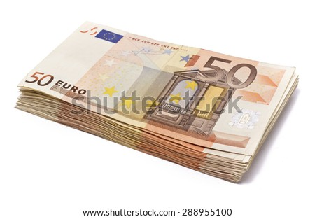 Pile of 50 real euro notes isolated on white.About 2500 euros worth. - stock photo