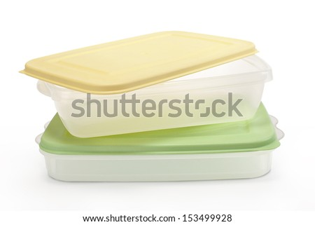 Pile of rectangular tupperware - stock photo