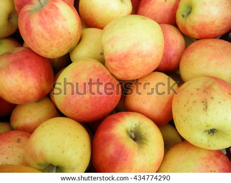 Pile of red apple at the farmers market. - stock photo