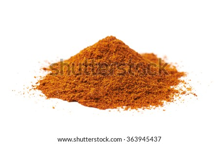 Pile of red cayen pepper isolated